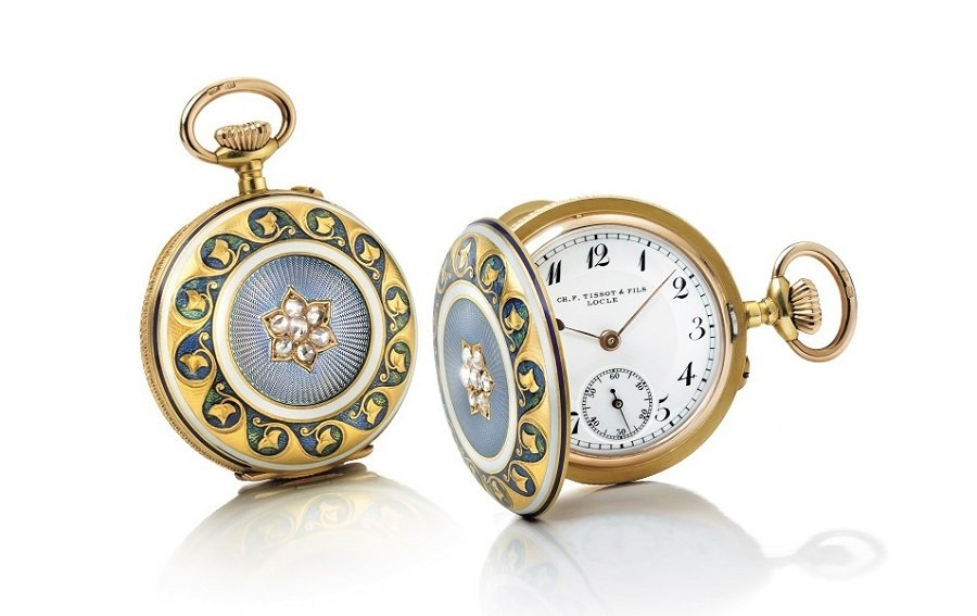 1878 Tissot pendant watch in gold and diamonds