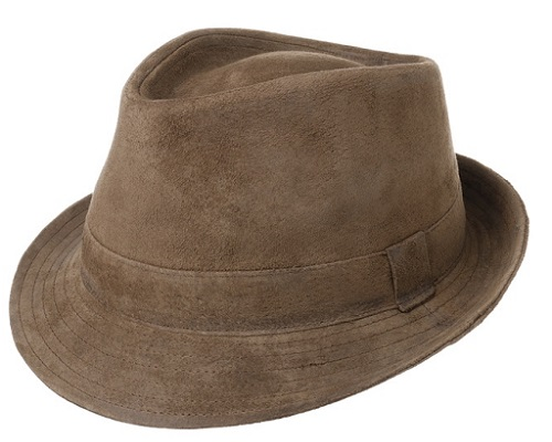 Lipodo Smooth Trilby Leather Hat
